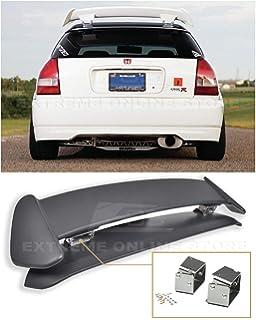 PQYRACING Rear Spoiler Wing Riser Lift Alex Tilt Bracket for 96-00 Honda Civic EK9 3DR Type R Spoiler Black
