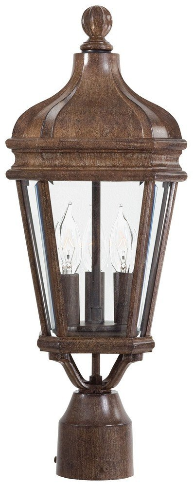 Minka Great Outdoors 8695-61 Harrison - 20'' Three Light Outdoor Post Mount, Vintage Rust Finish with Clear Beveled Glass