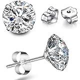 TTVOVO 925 Sterling Silver Stud Earrings Princess Cut Cubic Zirconia Sparkling CZ Diamond Earrings for Women Men Ear…