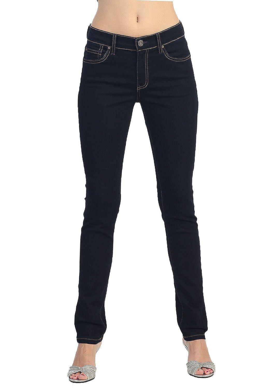 Angry Rabbit Women's Mid Waist Relaxed Skinny Premium Denim Jeans