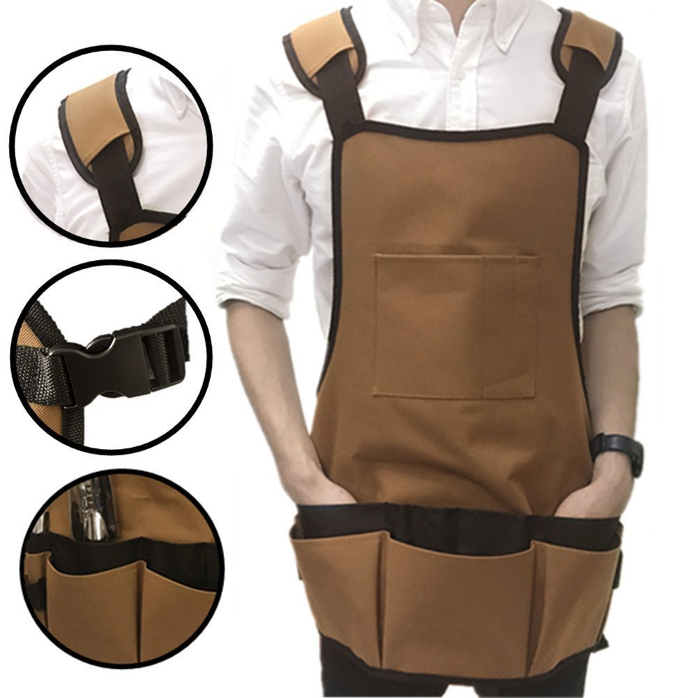Ez4garden Heavy Duty Waterproof Garden Tool Apron Multifunction Oxford Canvas Work Apron with Multi-Pockets and Adjustable Belt, Coffee 22.8-Inchx23.6-Inch