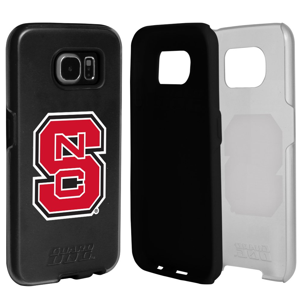 NC State Wolfpack Clear Hybrid Case for Samsung Galaxy S7 with Black Insert and Guard Glass Screen Protector