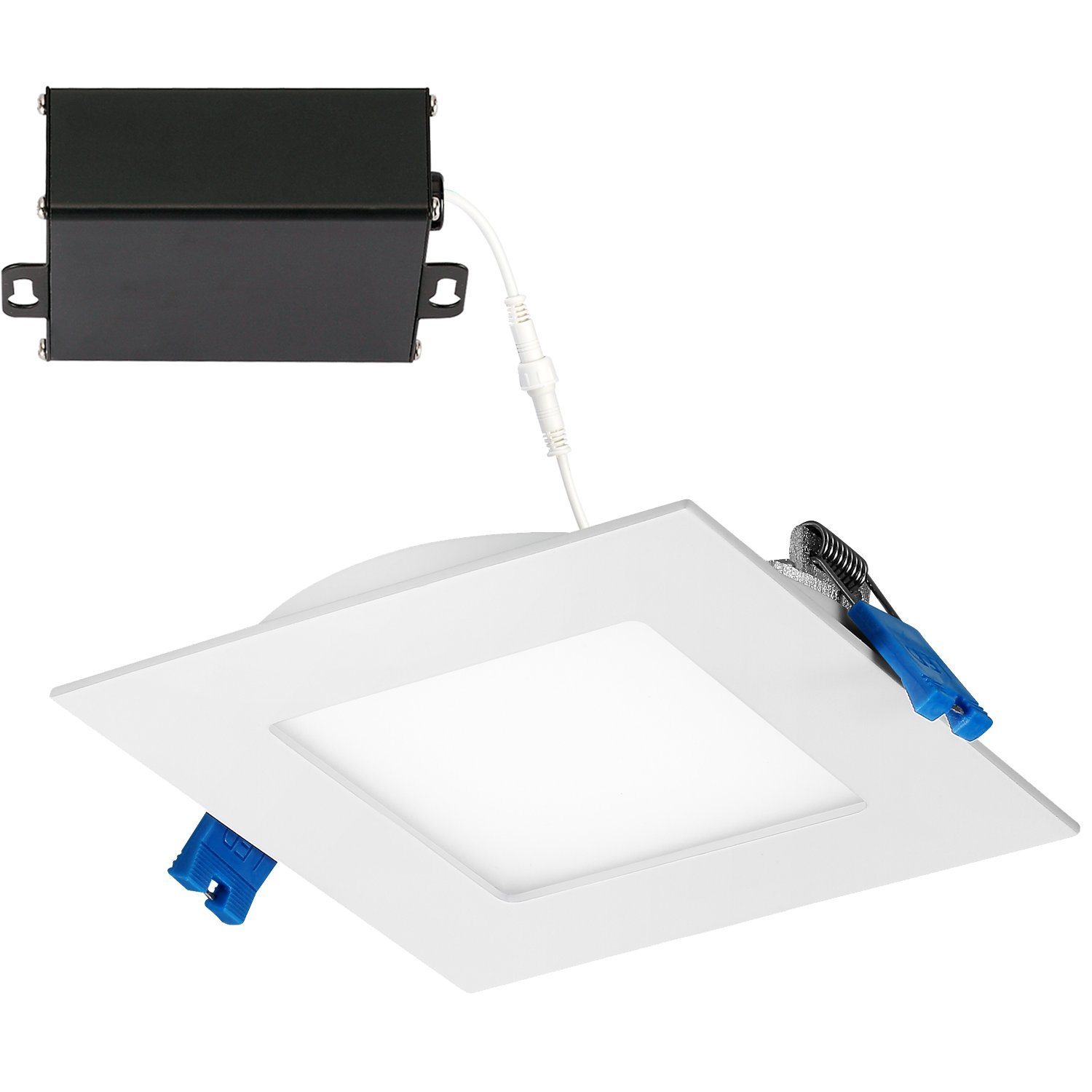 GetInLight Slim Dimmable 4 Inch LED Recessed Lighting, Square Ceiling Panel, Junction Box Included, 4000K(Bright White), 9W, 600lm, White Finished, cETLus Listed, IN-0308-1-WH-40