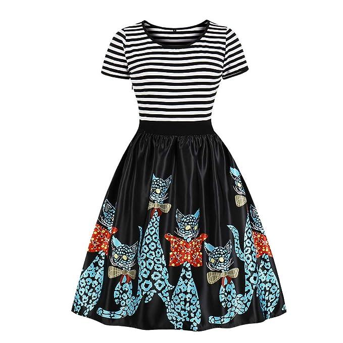 Lenfesh Mini Vestido Vintage de Mujer Vestido Estampado de Gato Vestido Corto Rayas Vestido de Noche Vestido de Fiesta: Amazon.es: Ropa y accesorios