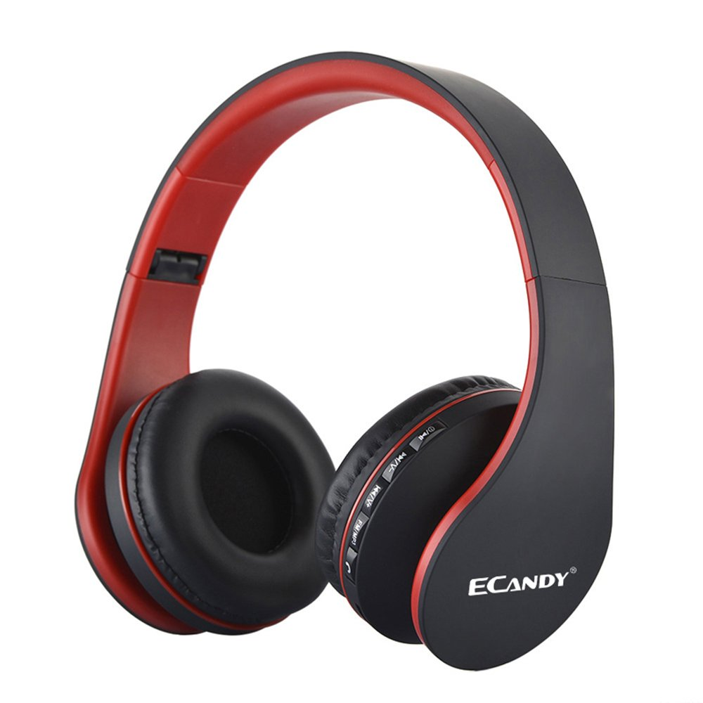 Ecandy Bluetooth Headphones Over-ear Stereo Wireless + Wired Headsets with Microphone for Music Streaming,Hands-free Calling For iPhone,Nokia,HTC,Samsung,LG,Moto,iPad,PSP and enabled Bluetooth-Red