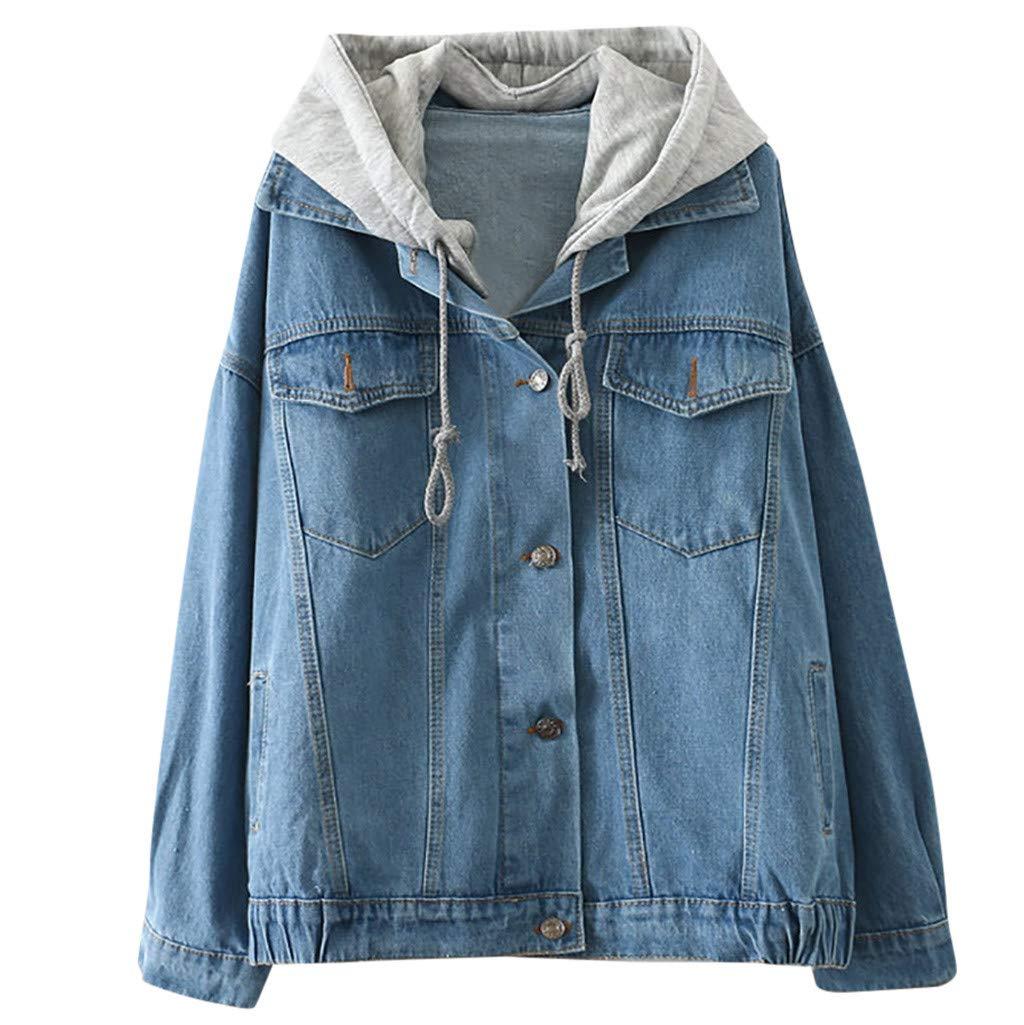 TWGONE Jean Jacket with Hoodie Women,Denim Jacket with Hood for Women Long Sleeve Retro Cowboy Pockets Coat (Medium,Blue) by TWGONE