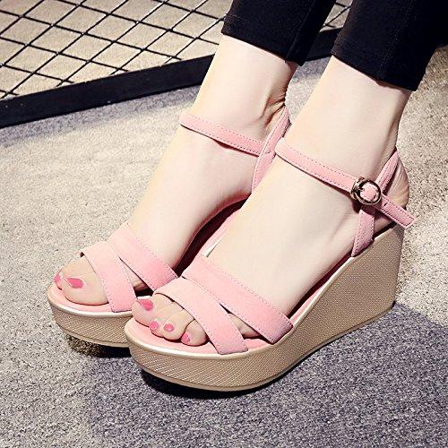 con pesce donna toe con zeppa open YMFIE zeppa di da moda sandali Pink Sandali casual casual 5FpI1