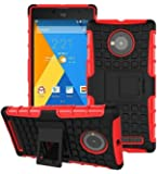 Heartly Flip Kick Stand Spider Hard Dual Rugged Armor Hybrid Bumper Back Case Cover For YU Yuphoria YU5010 5010A - Hot Red