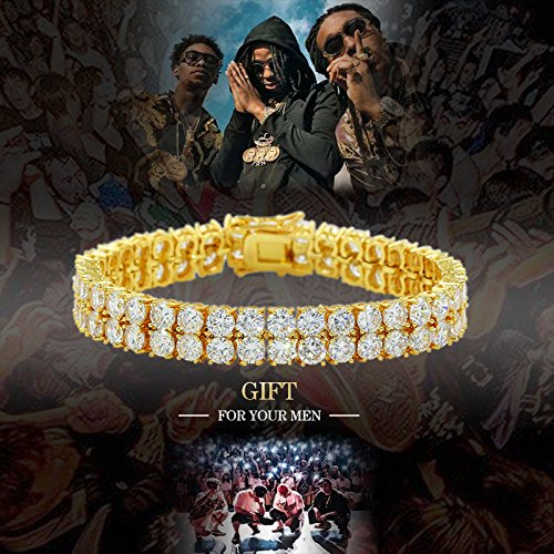 "JINAO 2 Rows AAA Gold Silver Iced Out Tennis Bling Lab Simulated Diamond Bracelet 8"" (Gold) by JINAO (Image #2)"