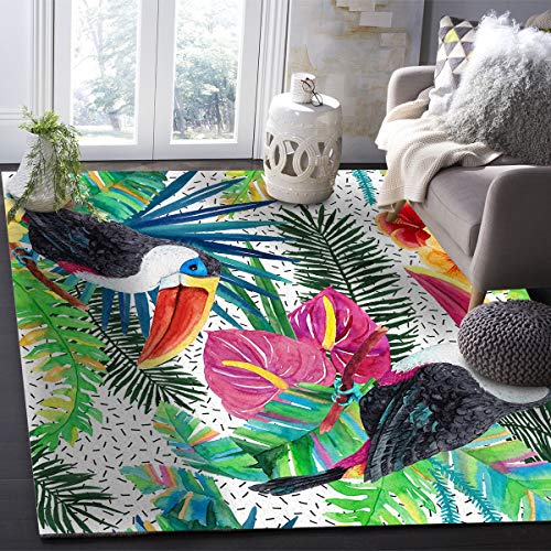 OUR WINGS Modern Area Rug,Tropical Rainforest Plant Flower Palm Leaves Toucan Indoor Area Rugs Living Room Carpets for Home Decor Bedroom Nursery Rugs