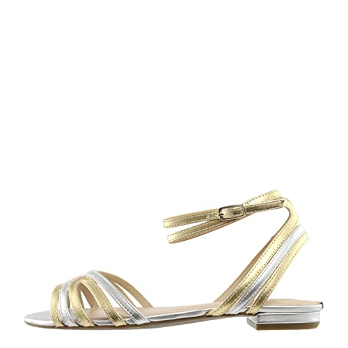 SCARPA DONNA GUESS SANDALO RIVA LEATHER METALLIZZATO GOLD SILVER 118