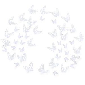 Luxbon 100Pcs 3D Vivid Cardboard Paper Hollow Butterfly Matt Effect Wall Stickers Art Crafts Decals Butterflies Home DIY Improvement Decor Mural White