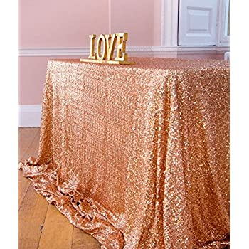 ShinyBeauty 60x120 Inch Rectangular Sequin Tablecloth Rose Gold