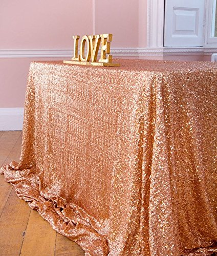 Sequin Tablecloth 50x72-Inch,Rose Gold Elegant Shimmer Square Table Linens, Sparkly Table Cloth/Overlay
