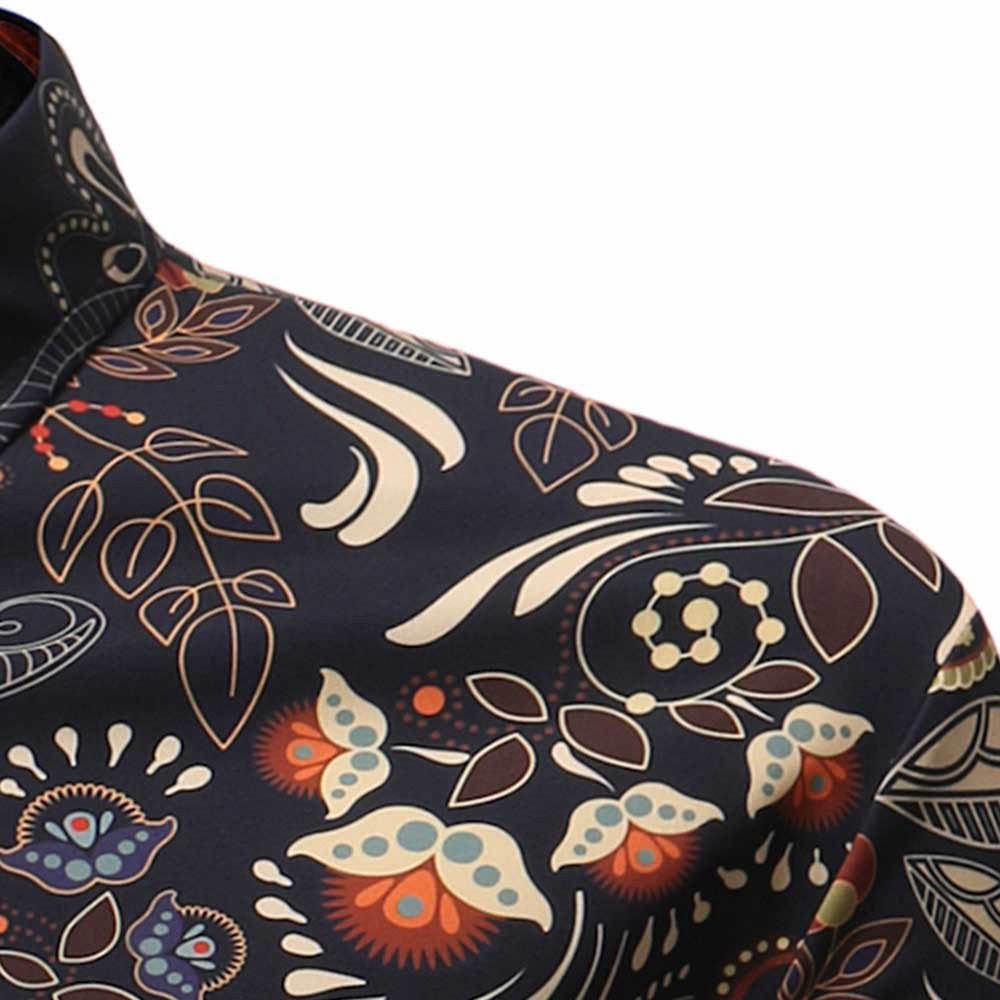 FINME Personality Mens Casual Slim Short Sleeve Printed Shirt Top Blouse