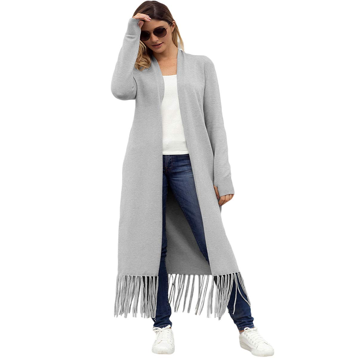 OMAMA Womens Open Front Knit Long Maxi Cardigan Sweater Solid Tassel Plus Size Long Sleeve Coat Outwear