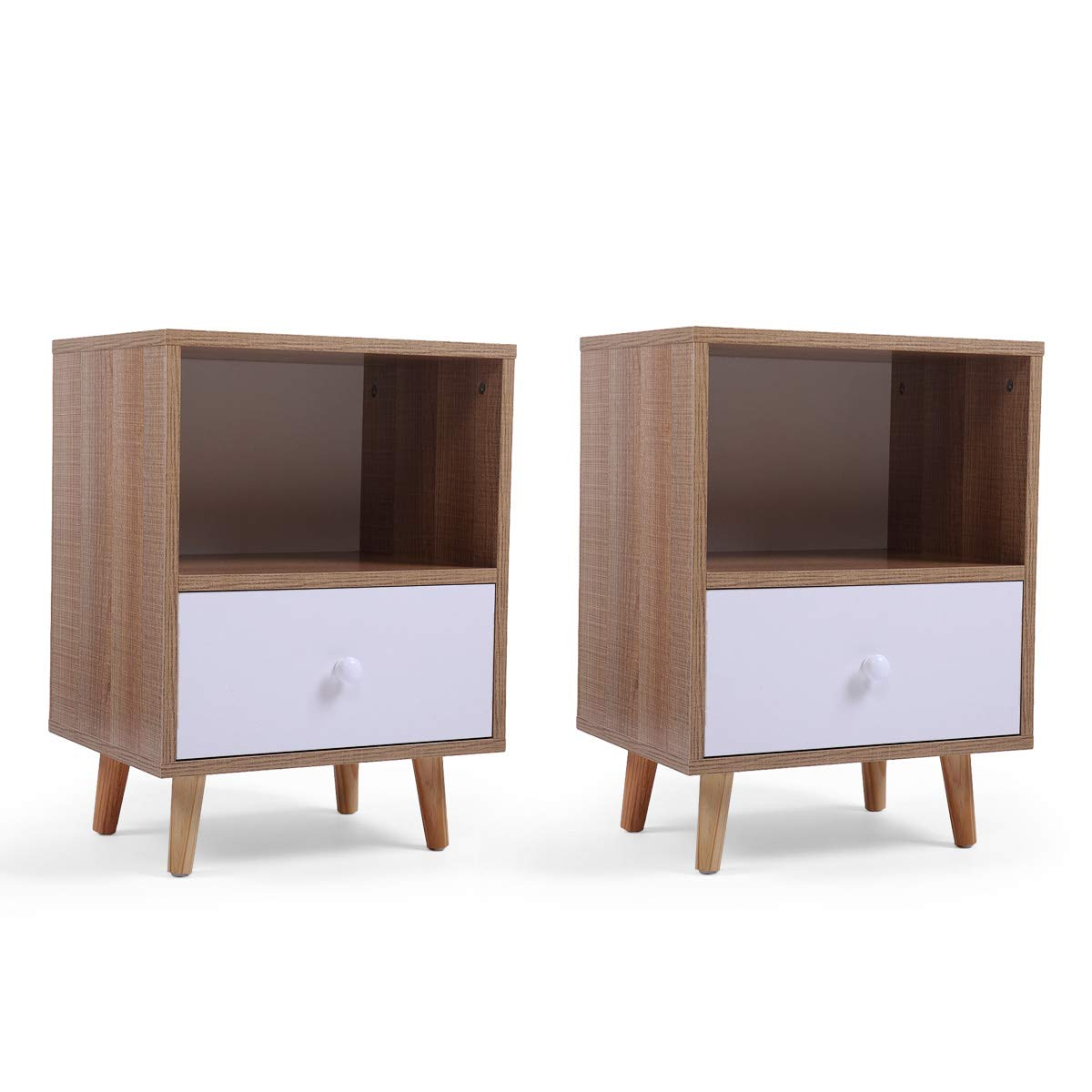 Set of 2 Night Stand 2 Layer w/Drawer Bedside End Table Organizer Bedroom by Betterhomechoice (Image #4)