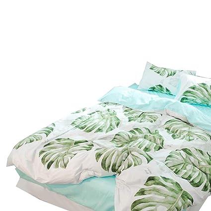 BHUSB Green Palm Tree Bedding Tropical Duvet Cover Set Green 100% Cotton  Duvet Cover Kids