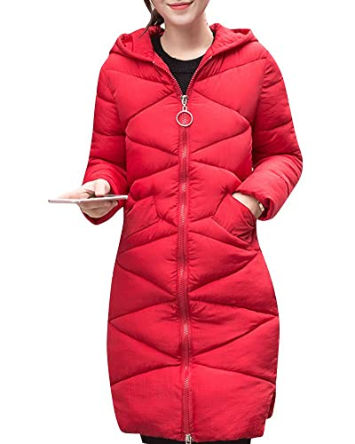 Abrigo de Invierno Acolchado Chaqueta Largo con Capucha de Manga Larga para Mujer