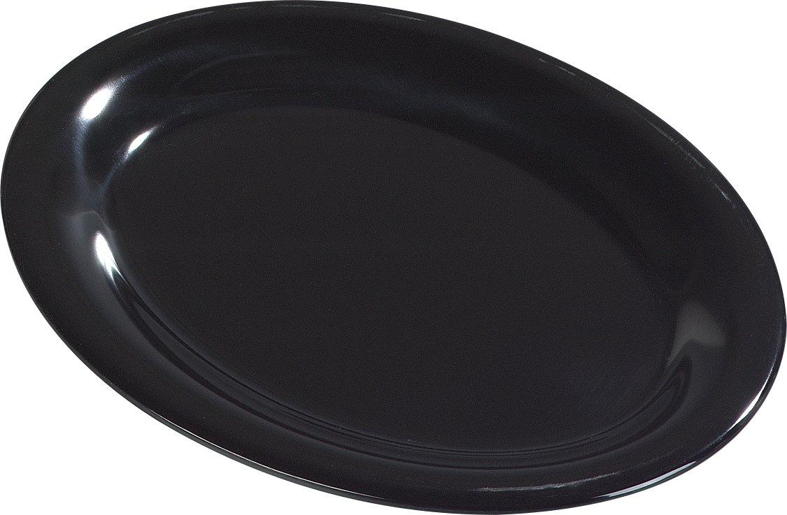 Carlisle 4308603 Durus Melamine Oval Serving / Dinner Platter, 9.5'' x 7.25'', Black (Pack of 24)