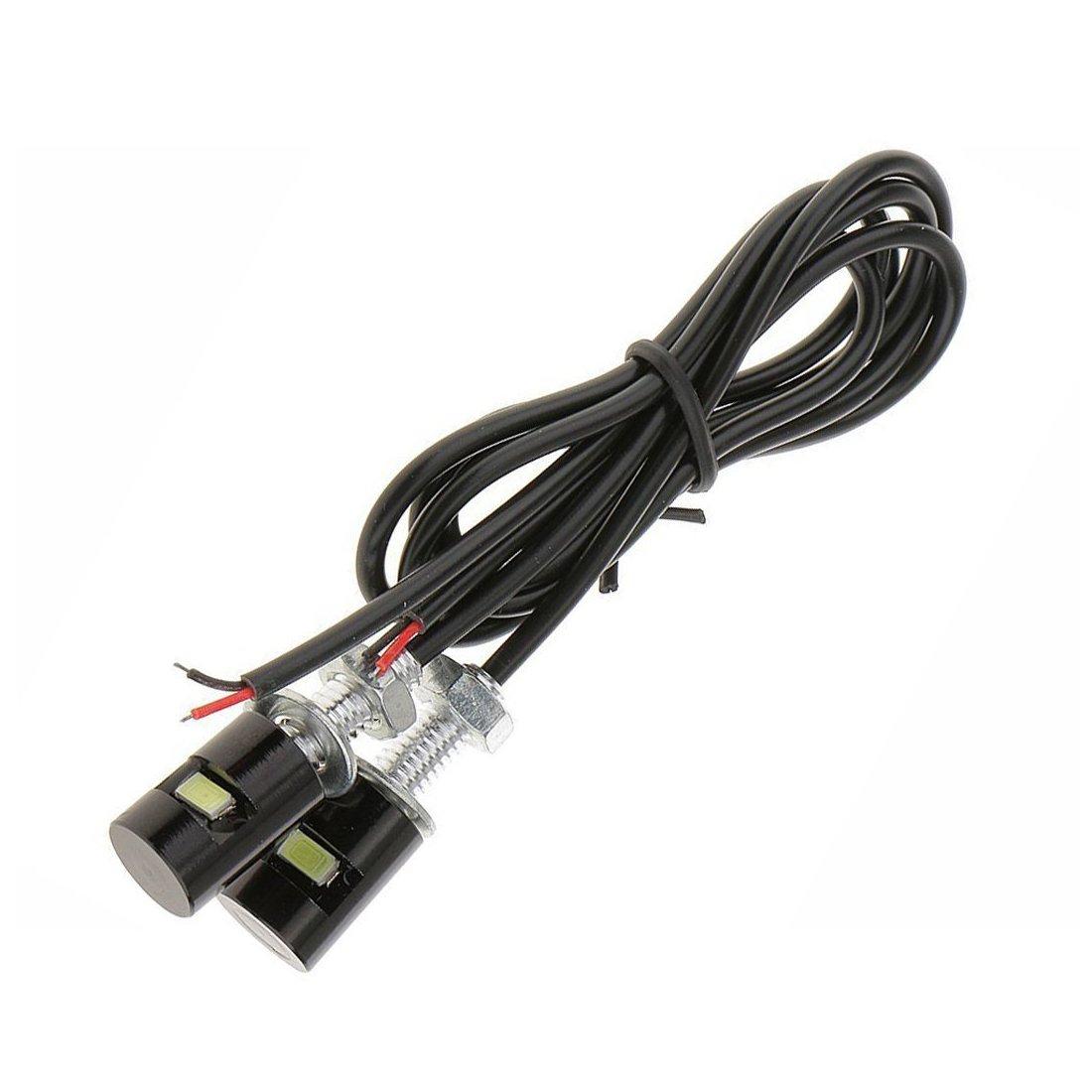 2 x Waterproof Number Plate Lamps Light Bulbs 12V LED Bolt Screw for Motorcycle/Car License Plate Light (White LED Light) Quacc
