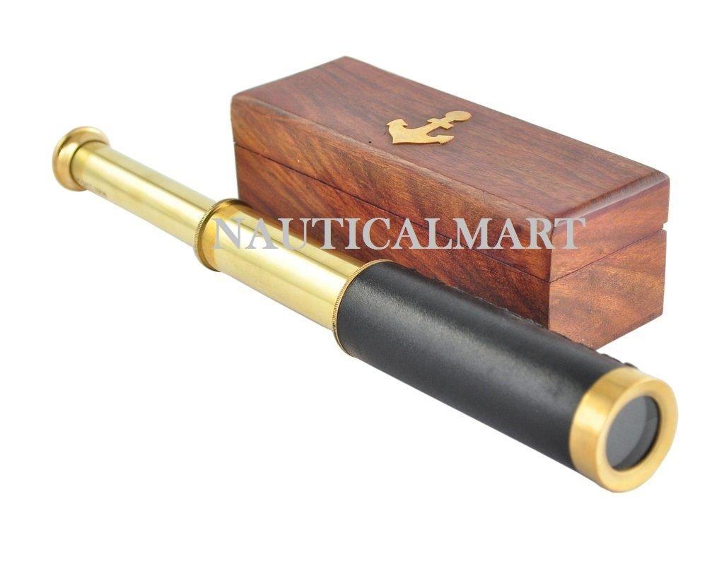 Antique marine brass pocket telescope 12 with wooden box by Karmakara NauticalMart Inc