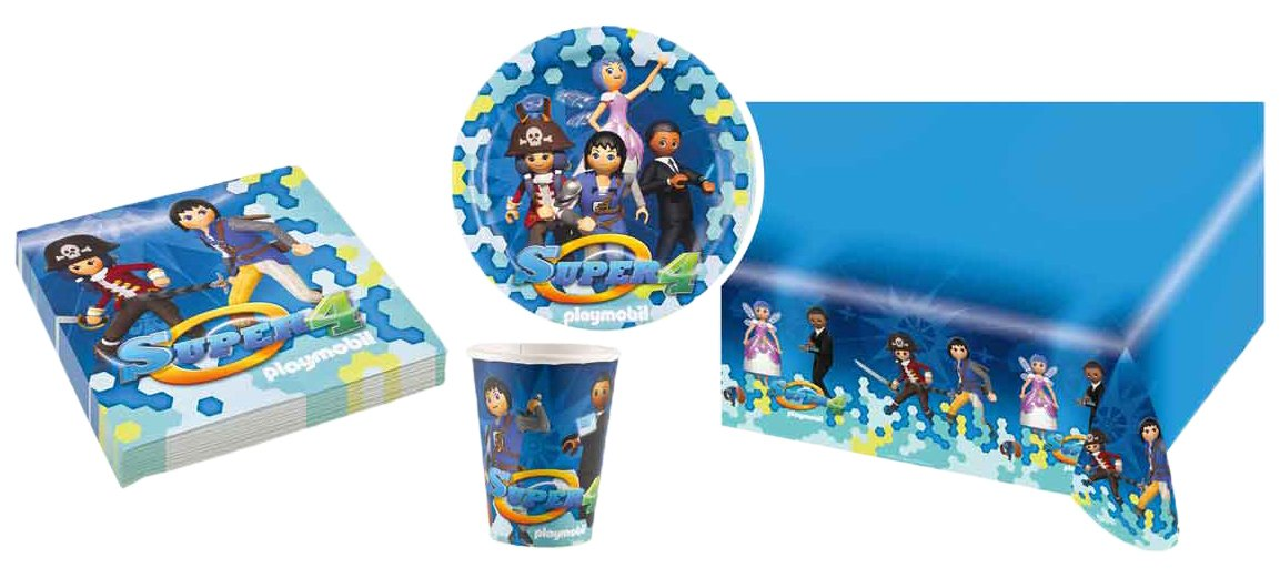 Amscan Partypack/7 - Super 4 Playmobil, Unidades cumpleaños ...