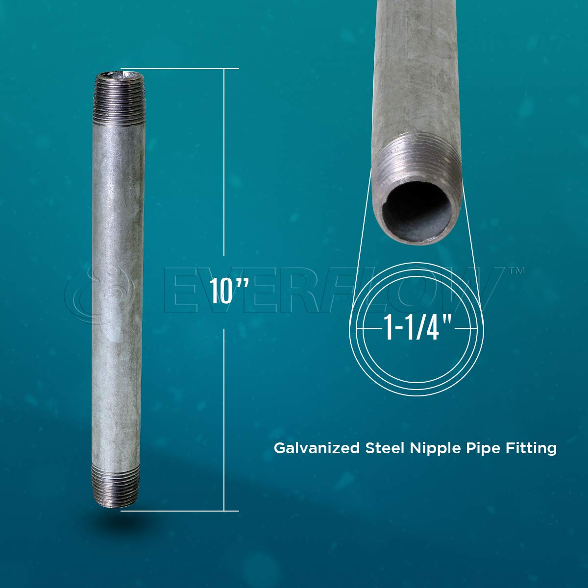 Connectors Used To Build DIY Furniture 1 x 5-1//2 Everflow NPGL1055-10 Pack of 10 Threaded Pipes and Fittings Pre Cut Industrial Steel Nipple Pipe Galvanized