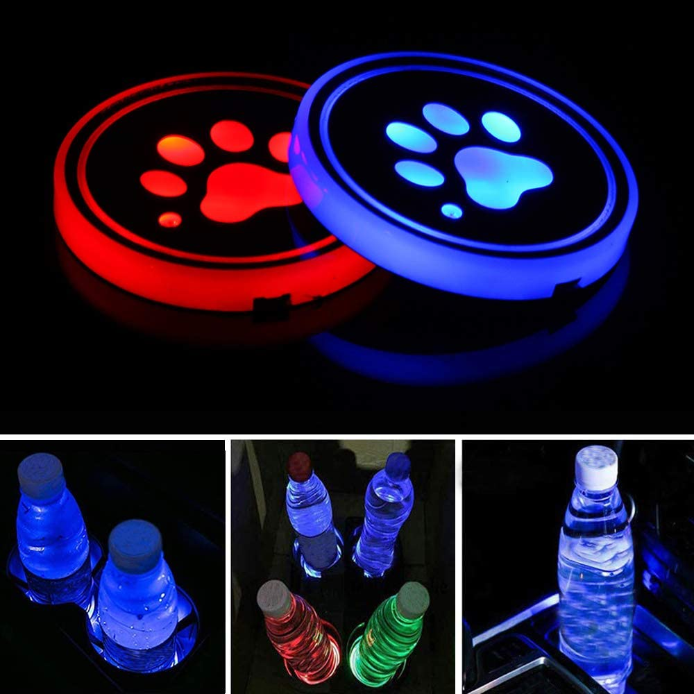 Lipctine Universal LED Car Cup Holder Lights Mats Pad Colorful RGB Drink Coaster Accessories Interior Decoration Atmosphere with Fit for Car Truck SUV Vehicle