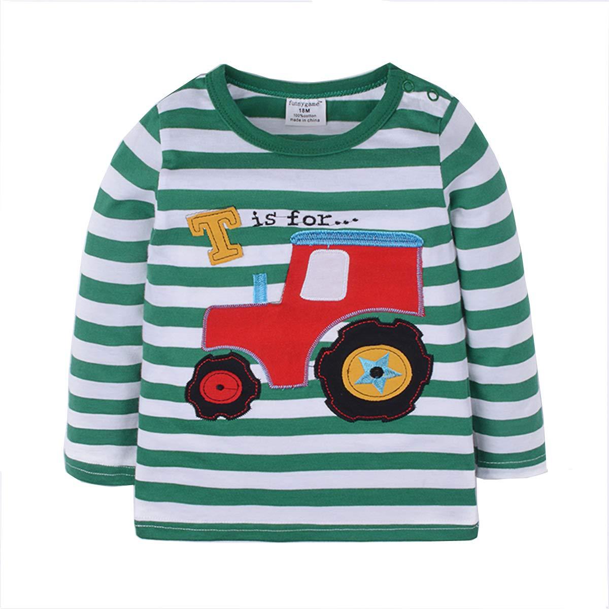 Kids Long Sleeve T-Shirt Boys Car Tee Shirt Children Print Tops Unisex Clothes Dizoony