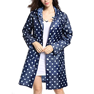 Tonfei Women's Lightweight Raincoat Waterproof Packable Rain Jacket Cute Polka Dot Hood Long Rain Coat (Blue): Clothing