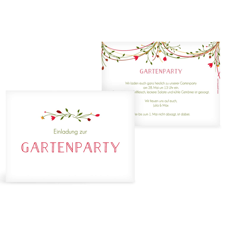 greetinks 100 x Einladungskarten für Geburtstag 'Girlande' in Rot   Personalisierte Einladungen zum selbst gestalten   100 Stück Geburtstagseinladungen - Einladungen Party & JugendWeiße