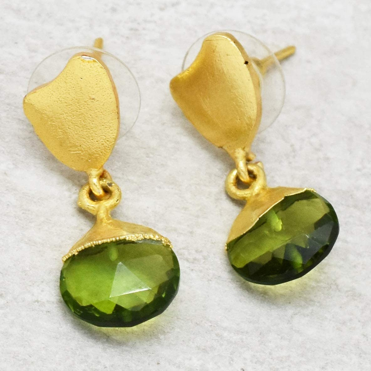 The V Collection earrings faceted smoky round yellow gold plated dangling earrings for women and girls