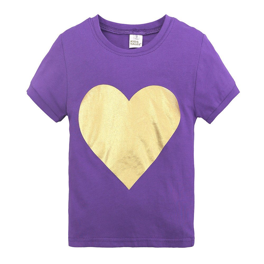 Summer Pajama Sets For Kids Girls,Baby Girls Cotton Tee Tops + Pajama Pants Girls Homewear Set(Purple,3 Years) by Wesracia (Image #2)