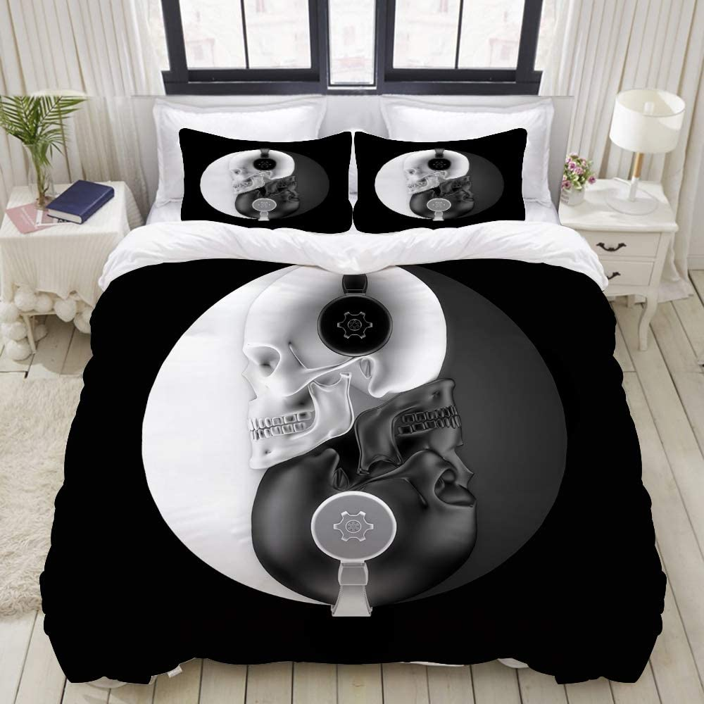 LONSANT Headphone Skulls Harmony 3D of Black and White with Headphones Forming Yin Yang Studio Single Apartment Decorate Decorative Custom Design 3 PC Duvet Cover Set Queen/Full