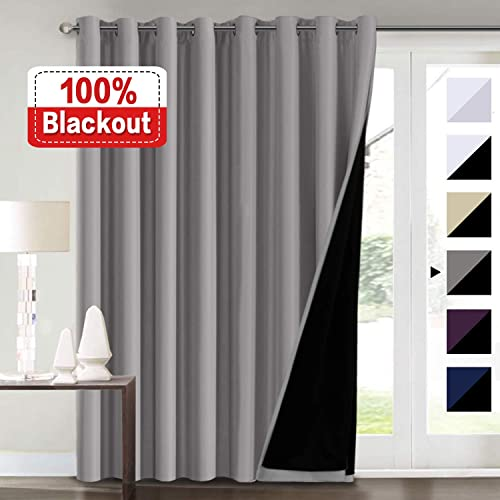 100 Blackout Curtains for Living Room Extra Wide Blackout Curtains for Patio Doors Double Layer Lined Drapes for Double Window Thermal Insulated Curtains Draperis – Grey, 100 x 96