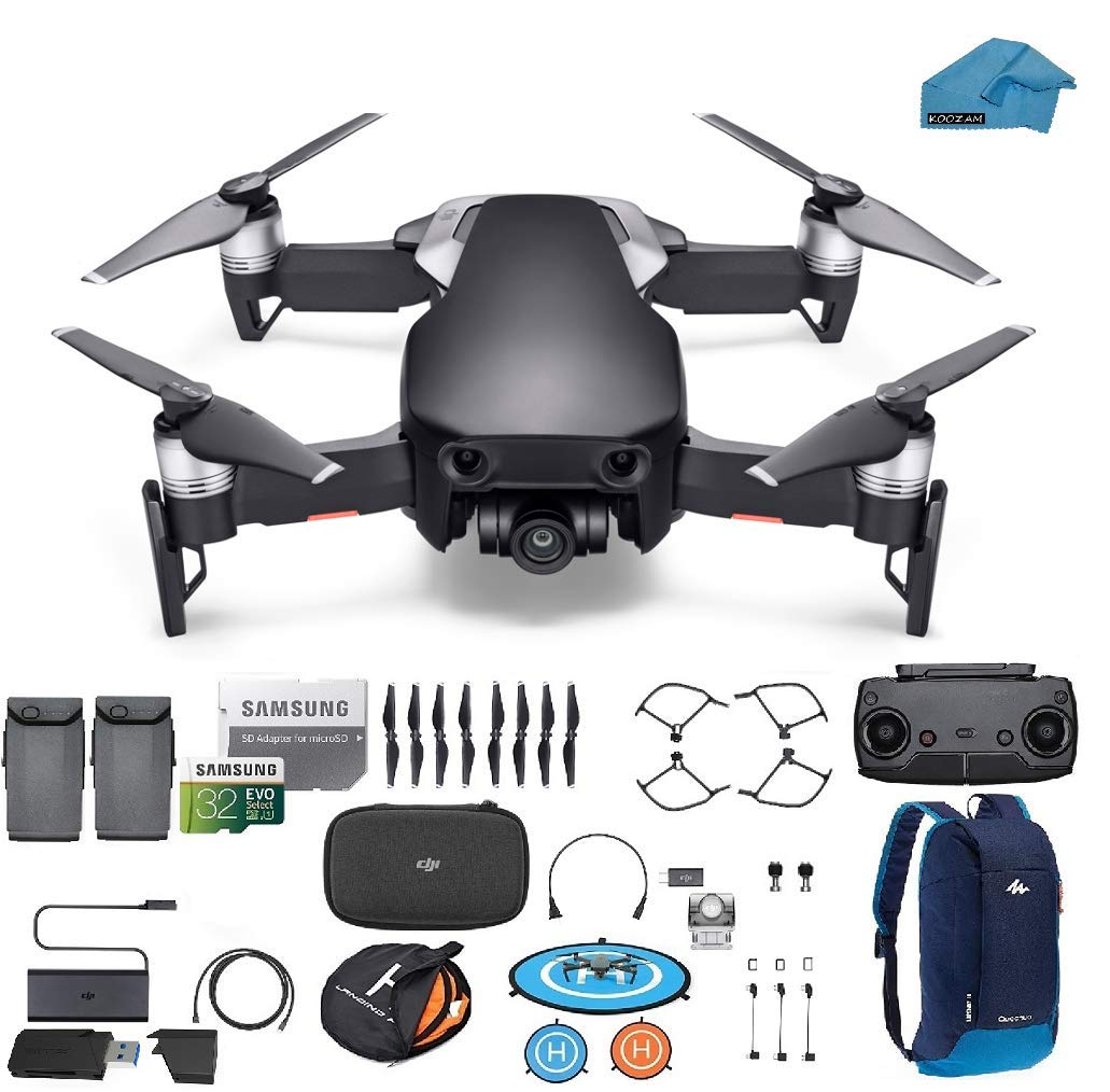 DJI Mavic Air Drone - Quadcopter with 2 Batteries 32gb SD Card - 4K Professional Camera Gimbal - Bundle - Kit - with Must Have Accessories (Onyx Black)