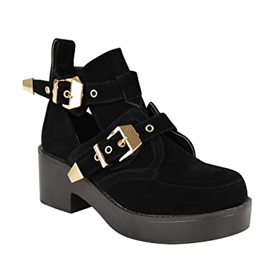 d3a6aff3c83 Fashion Thirsty LADIES WOMENS CUT OUT BOOTS FLAT LOW HEEL STRAPPY CHUNKY  GOLD BUCKLE TRIM BIKER