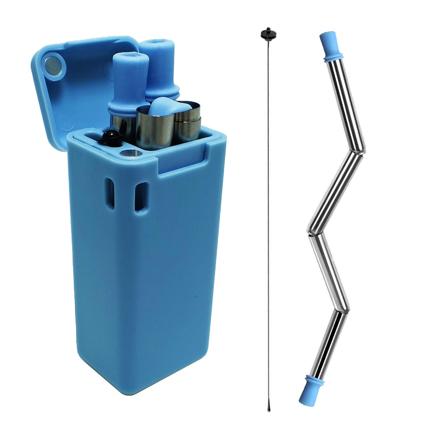 ZUORAN Collapsible Reusable Straws Stainless Steel Folding Straws Portable Travel Food-Grade Straws with Free Gift Keychain Case for Household Outdoor (Blue)