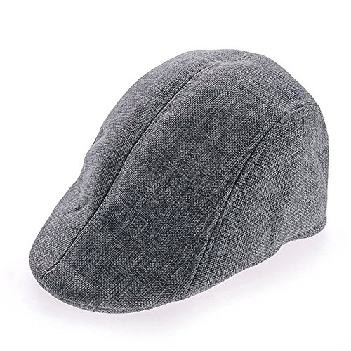 - YING LAN Men's Herringbone Tweed Newsboy Cabbie Flat Driving Hat Golf Cap Gray