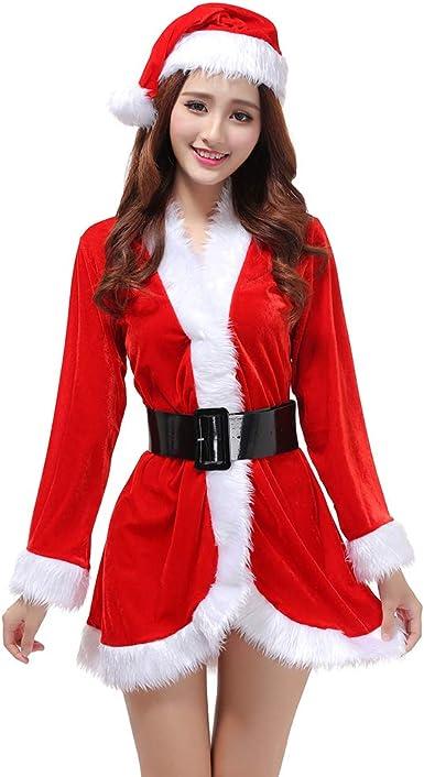 Youjia Disfraz De Mamá Noel Para Mujer Trajes De La Navidad Cosplay Costume Fantasia Vestidos Fiesta Rojo Amazon Es Ropa Y Accesorios