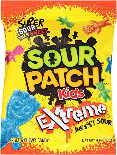 Sour Patch Kids Sweet and Sour Gummy Candy (Extreme, 4 Ounce Bag, Pack of 12) -
