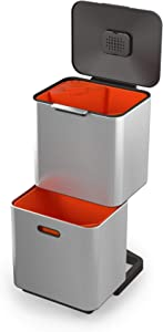 Joseph Joseph 30060 Intelligent Waste Totem Max Kitchen Trash Can and Recycle Unit with Compost Bin, 60 Liter/16 Gallon, Stainless Steel