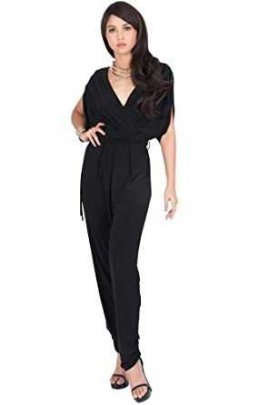3101d08e0b89 Amazon.com  KOH KOH Womens Long Sexy V-Neck Short Sleeve Cocktail Pant Suit  Jumpsuit Romper  Clothing