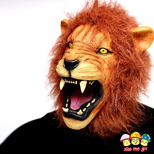 [XIAO MO GU Deluxe Novelty Halloween Costume Party Latex Animal Head Mask Lion] (Monkey See Monkey Do Costume)