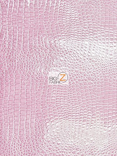 VINYL FAUX FAKE LEATHER PLEATHER EMBOSSED SHINY ALLIGATOR FABRIC - Pink - 54 WIDTH SOLD BY THE YARD by Big Z Fabric   B00LBBGCQS
