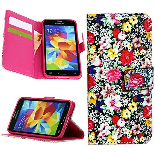 Handy Lux® Schutz Hülle für Apple iPhone 5 / 5S Tasche Kartenfächer Flip Case Etui Cover Involto Motiv Design Hülle BookStyle Blume Color