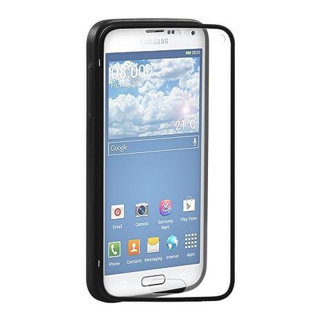 kwmobile Funda para Samsung Galaxy S5 Mini G800 - Case Completa de TPU y Cuero sintético - Cover Protector Fullbody en Negro/Transparente