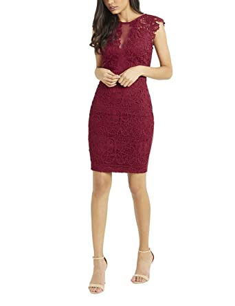c2f7a24f67708e Lipsy Womens Love Michelle Keegan Frill Sleeve Lace Bodycon Dress - Red -   Amazon.co.uk  Clothing