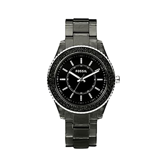 Amazon.com: Fossil Womens ES2454 Black Resin Bracelet Black Glitz Analog Dial Watch: Fossil: Watches